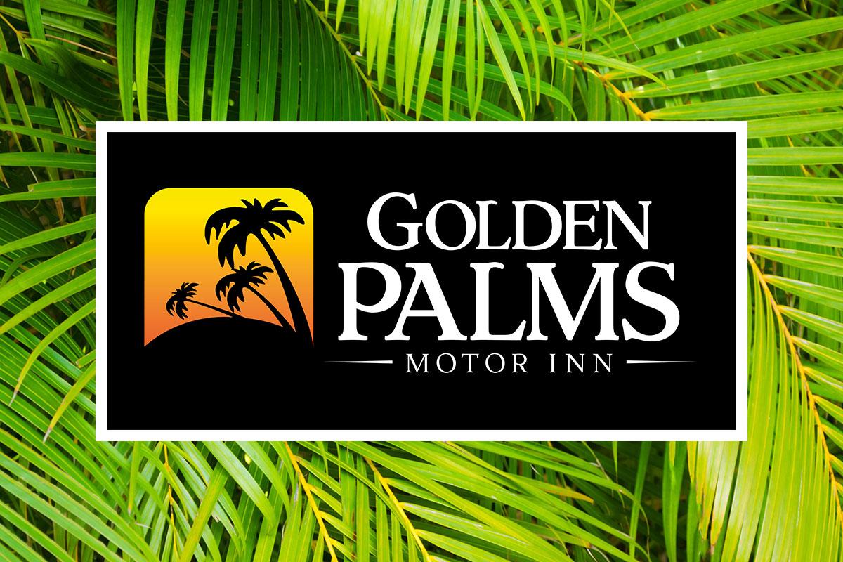 Golden Palms Motor Inn Motel Logo Design by SignMax Bundaberg